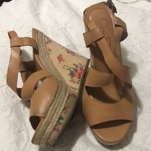 Jessica Simpson Floral Wedges 3.5 inches